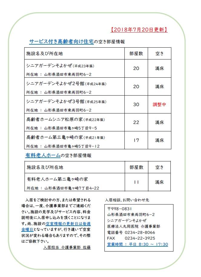 【介護事業部からのお知らせ】施設の空き状況 7/23