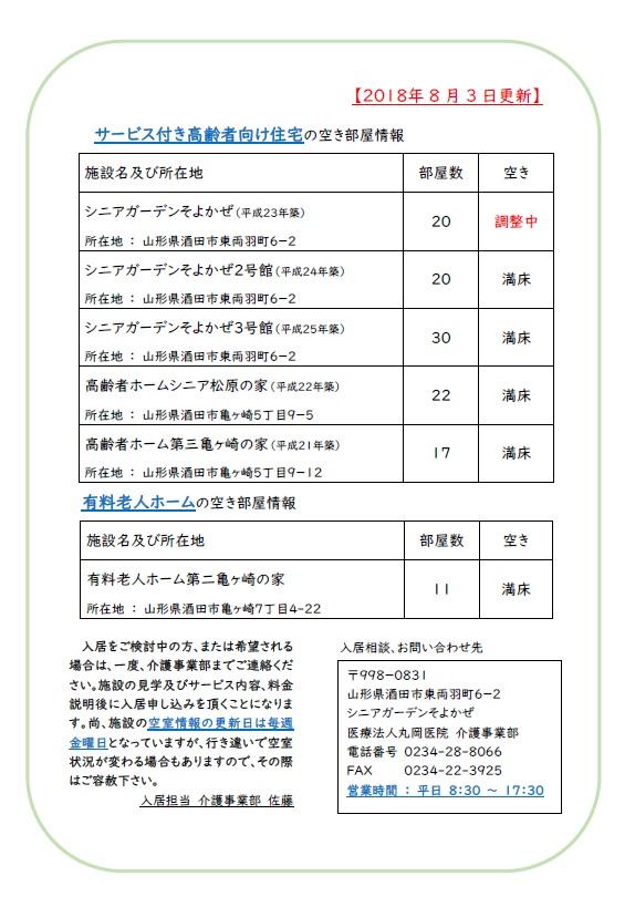 【介護事業部からのお知らせ】施設の空室状況 8/3
