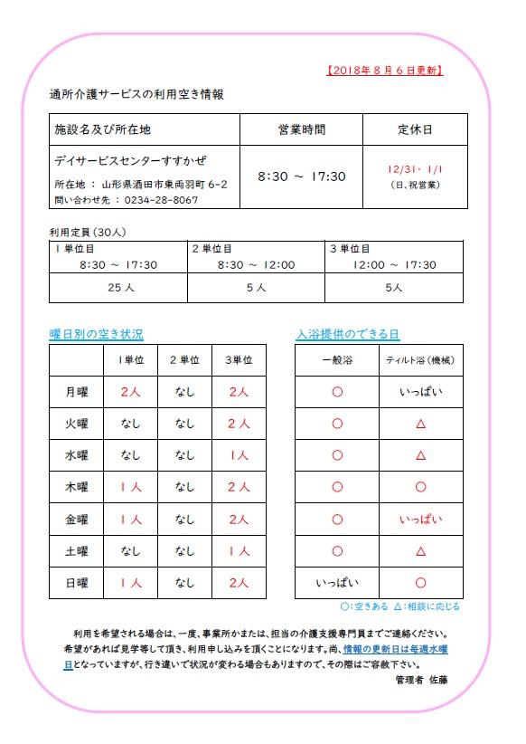 【デイサービスからのお知らせ】すずかぜ利用空き情報 8/6更新