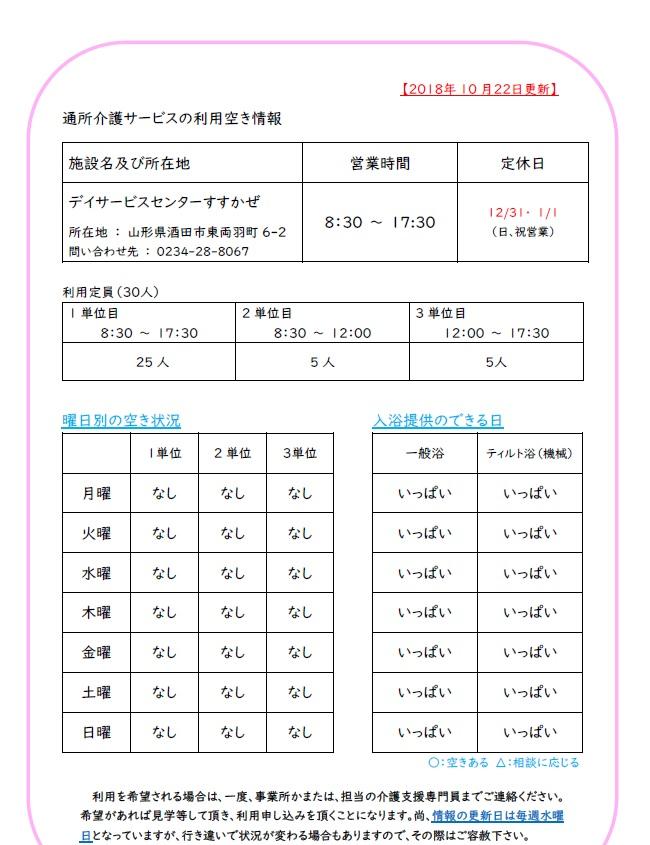 【デイサービスセンター】より空き情報
