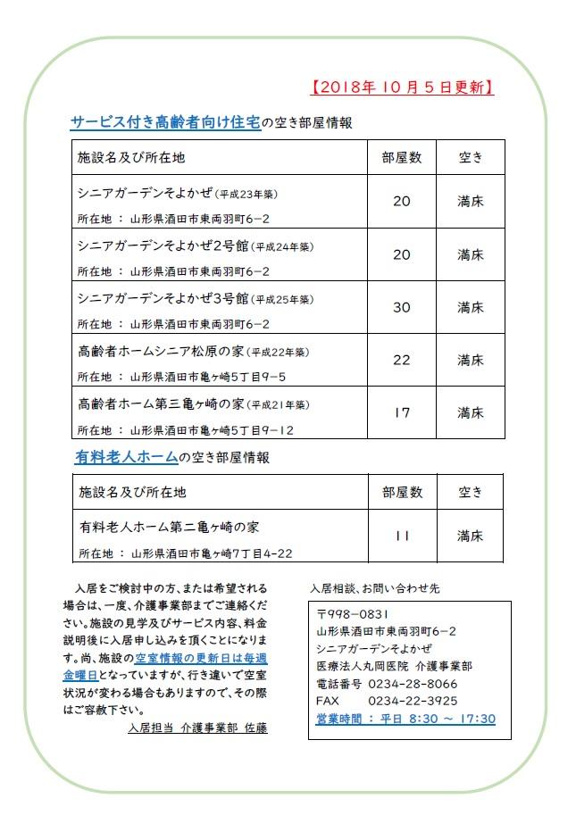 【介護事業部からのお知らせ】施設の空室情報