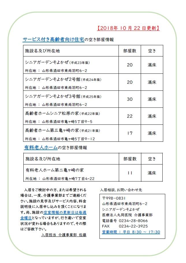 【介護事業部からのお知らせ】施設の空室状況について