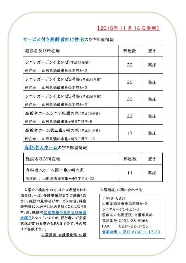 【介護事業部からのお知らせ】施設空き状況について
